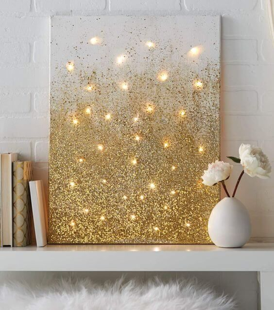 Photo of DIY home decor ideeën met kerstverlichting, canvas met kerstverlichting #ideen #lein …