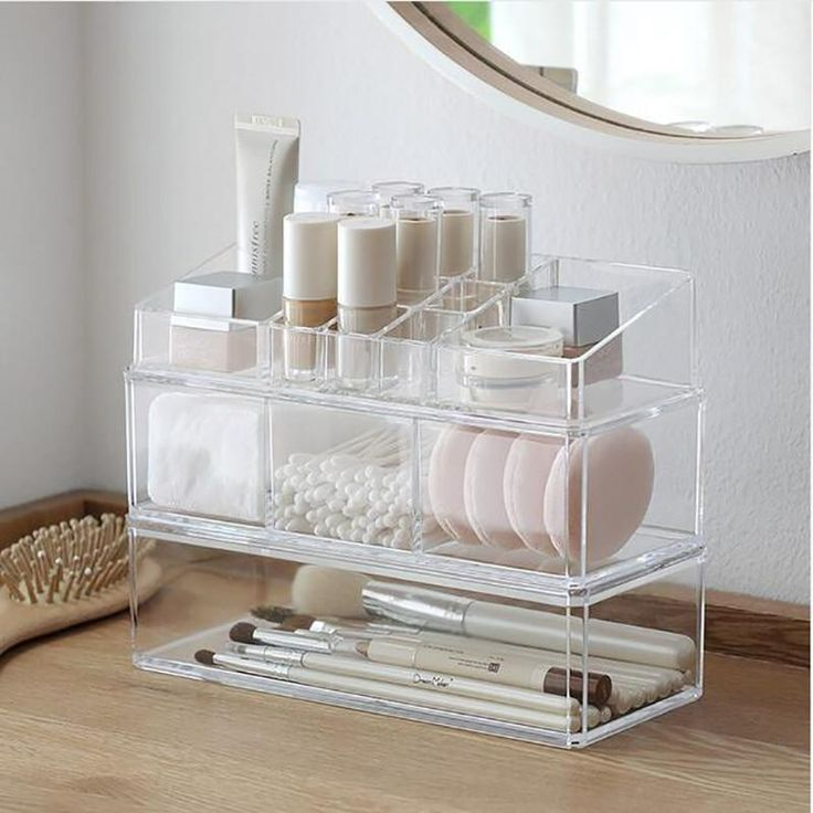 Photo of Tragbarer transparenter Makeup Organizer Aufbewahrungsbox Acryl Makeup Organizer …